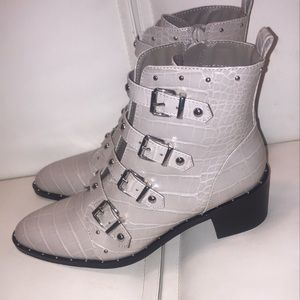 Fergie Gray Snake Print Ankle Boots